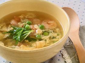えんどう豆とえびの卵スープ