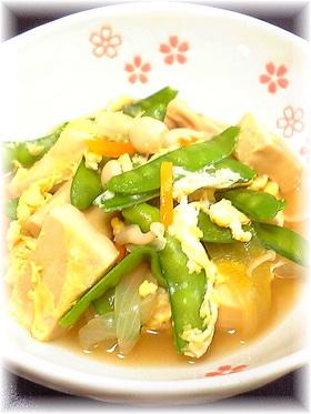 さやえんどうと高野豆腐のたまごとじ♪