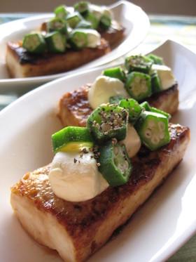 おくらチーズの豆腐ステーキ
