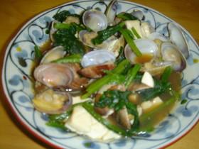 アサリと豆腐の炒め物
