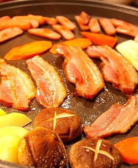 ベーコンと野菜の鉄板焼き