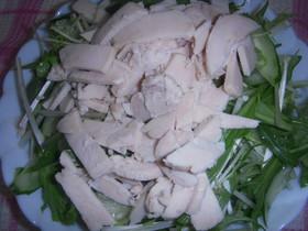 鶏ハムと水菜のサラダ