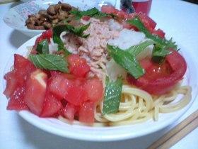 さっぱり和風ツナトマトパスタ