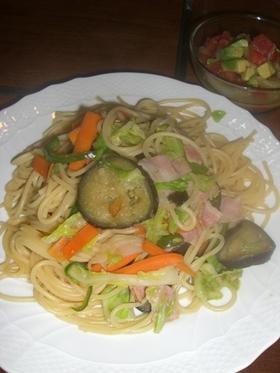 春キャベツと色いろ野菜のジンジャーパスタ