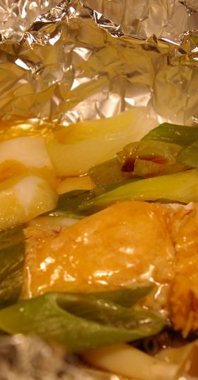 鮭と長ネギのアルミホイル包み焼き