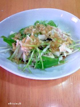 ほぐし鶏と長芋と水菜のサラダ