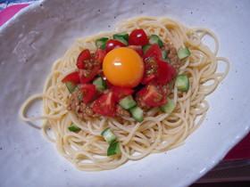 納豆とトマトの冷製パスタ