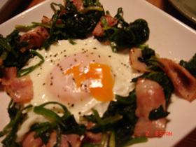 トロリ卵でポパイエッグ(バターソテー)