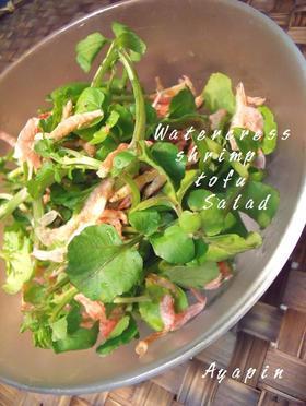 クレソンと桜海老と豆腐のゴマドレサラダ