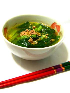 小松菜のピリカラスープ