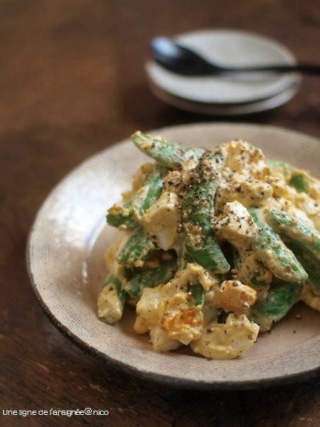 スナップえんどうと茹で卵のサラダ
