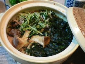 わかめと水菜のきのこ鍋