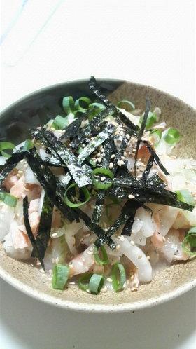 塩鮭と新玉サラダ