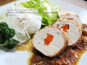 鶏胸肉で野菜チーズのチキンロール