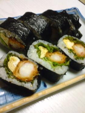 エビフライ巻き寿司♬