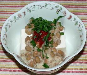 豆と豆と豆のおつまみ、納豆・豆腐・豆板醤