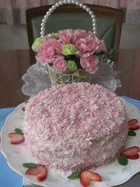 母の日に♪ピンクのケーキ♡