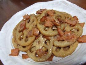 簡単美味しい!!蓮根とベーコンの炒め煮