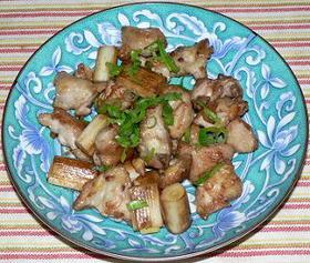 鶏三角と白ネギの塩炒り、梅酢風味