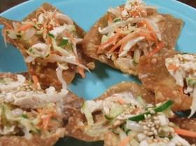 ワンタンディッシュの棒々鶏風サラダ