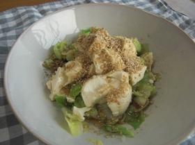 簡単ヘルシー♪ゆでキャベツと豆腐のサラダ
