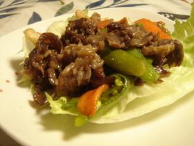 牛肉とスナップえんどうの炒め☆レタス巻き
