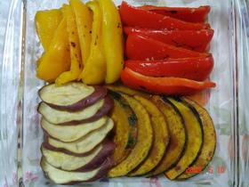 南瓜とパプリカ・さつま芋の揚げ浸し