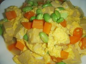 高野豆腐と枝豆の卵とじ