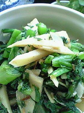 簡単タケノコとカブの葉&ほうれん草煮浸し