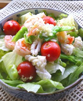春のお豆と海鮮の中華サラダ