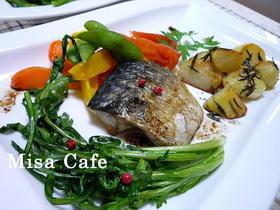 サバの夏野菜のオリーブ油ソテー