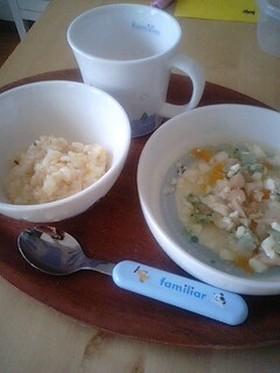 野菜ピラフとお魚ボールのスープ煮
