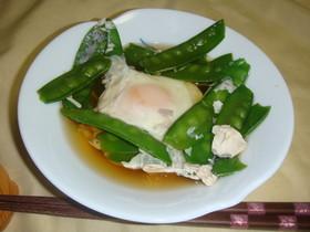 ほんのり甘い母の味 絹さやの落とし卵煮