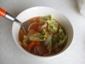 超簡単!レンジでミネストローネ風スープ