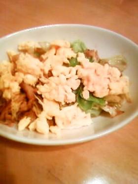 春キャベツと豚肉のマヨ炒め。卵乗せ