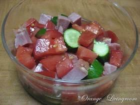 きゅうりと焼き豚とトマトの甘酢サラダ