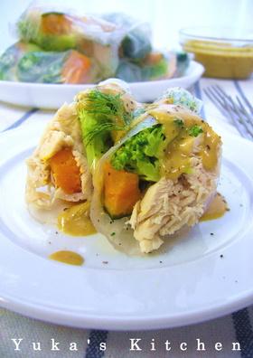 彩り温野菜の生春巻きカレークリームソース