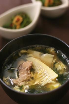 鯖水煮缶と筍の味噌汁