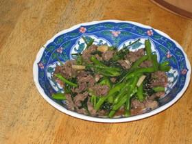 空芯菜の牛肉オイスター炒め