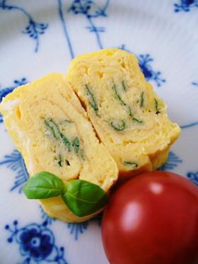 お弁当の卵焼きアレンジ❤ バジルチーズ