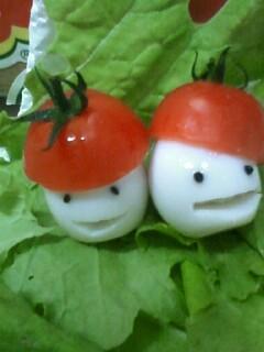 お弁当に☆トマト帽子のうずらちゃん