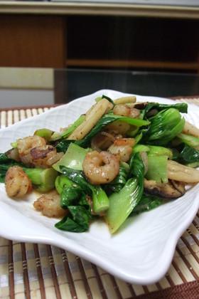 エビと青梗菜のゴマドレ炒め