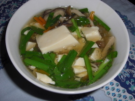 豆腐ときのこのあんかけスープ
