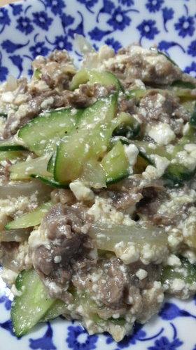 牛肉ときゅうりのくずし豆腐餡(みそ風味)
