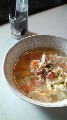 パスタのゆで汁でエコスープ