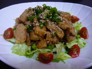 カジキマグロの味ぽんサラダ!の写真