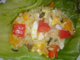 夏の彩り☆南瓜とパプリカのお米のサラダ