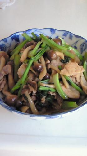 豚肉としめじと小松菜の甘辛煮