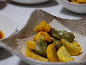 空豆とズッキーニのピリ辛マヨ炒め