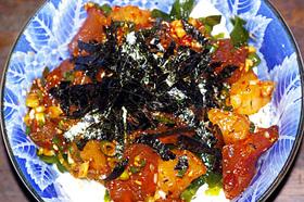ポキと豆腐のピリ辛丼